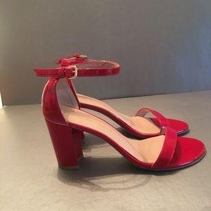 Stuart Weitzman Shoes - STUART WEITZMAN RED PATIENT LEATHER HEELED SHOE